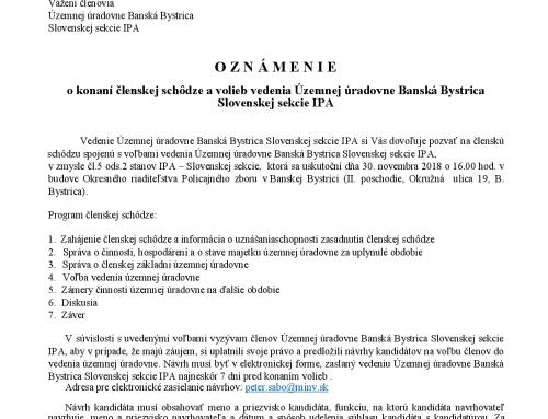 O Z N Á M E N I E o konaní členskej schôdze a volieb vedenia Územnej úradovne Banská Bystrica Slovenskej sekcie IPA